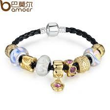 murano glass beads bracelet silver images Bamoer silver color leather charm bracelets bangles for women jpg