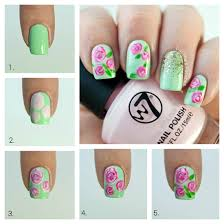 roses nail art tutorial pink roses with a mint base