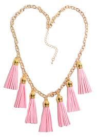 light pink necklace images Light pink lucky seven tassel necklace purple peridot jpg