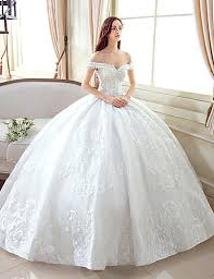 tulle wedding dress gown the shoulder floor length lace tulle wedding dress