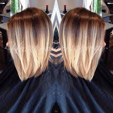 brown and blonde ombre with a line hair cut latest trend blonde ombre colored short hair lob balayage and