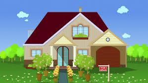 A Small House Animation Cartoon Is Rain The Sky Cloud Colored Houses On A