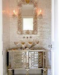 decorating bathroom ideas with seashells mirror and sink