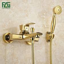 popular bathtub faucet shower buy cheap bathtub faucet shower lots flg wall mounted antique brass brushed gold plated bathtub faucet with hand shower bathroom bath shower
