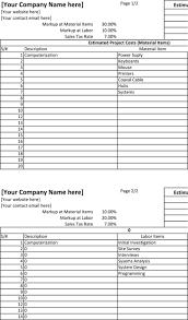 Project Estimation Template Excel by Blank Estimate Template Download Free U0026 Premium Templates Forms
