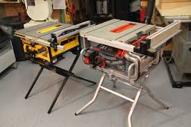 dewalt table saw folding stand bosch vs dewalt portable jobsite table saw stand comparison a