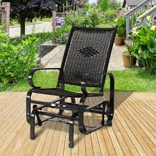 Patio Rocking Chairs Outsunny Patio Rocking Chair Seat Rattan Wicker Garden Furniture