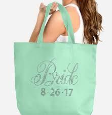 wedding bags tote bag with custom rhinestone wedding date
