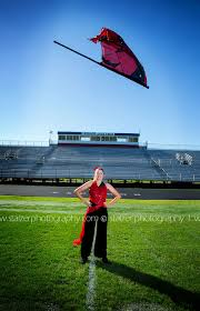 Red Flag Football Senior Pictures Senior Portraits Stadium Color Guard Flag Football