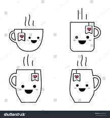 cute cup black white set stock illustration 492483733