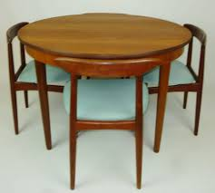 Teak Tone Compact Round  Leaf Dining Tablepaired With The - Teak dining room chairs canada
