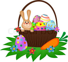 bunny basket eggs vector easter bunny with a painted eggs in the basket stock