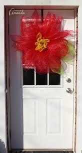 deco mesh poinsettia flower a christmas door decoration