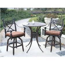 Balcony Bistro Set Patio Furniture Bar Height Bistro Set Outdoor Oak Cliff 3 Metal Outdoor