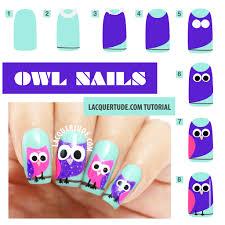 tutorial owl nail art lacquertude