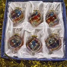 christmas ornament sets 24 karat gold decorated glass christmas ornaments colored