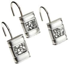 sinatra set of 12 resin shower curtain hooks silver cracked
