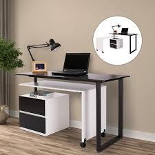 Swivel Computer Desk Homcom 52 85 Swivel Computer Table Desk Black White Home