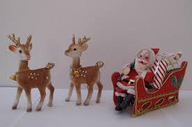 Vintage Santa Sleigh and Reindeer Decorations 1960s