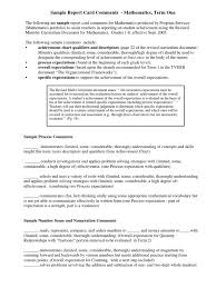 report writing sample for students sample report card comments expected value curriculum