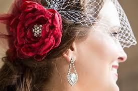 scarlet red bridal hair accessories bridal hair flower wedding