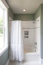 Pool Bathroom Ideas Sea Foam Green Bathroom With White Subway Tile In The Shower And