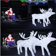 outdoor 3d decoration led reindeer sleigh with led