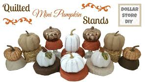 dollar store diy quilted mini pumpkin stands fall home decor