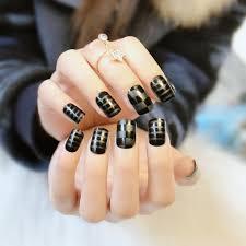 online shop 24pcs set matte black lattice fake nails full cover