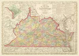 Map Of Virginia by 1859 Map Of Virginia Vintage Print Poster