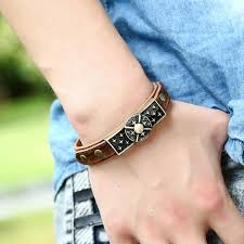 men cuff bracelet images Men cow leather genuine wristband cuff bracelet punk style charm jpg
