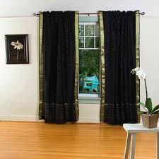 Sari Curtain Pumpkin Rod Pocket Sheer Sari Curtain Drape Panel Pair