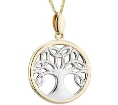 solvar two tone celtic family tree pendant w chain 14k qvc com
