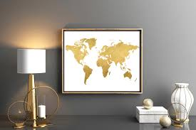 Personalized World Map by Gold World Map Download Map Poster Map Wall Art Digital