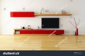 minimalist living room cabinet shelves lcd stock illustration