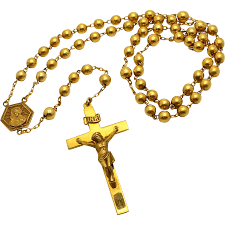 gold rosary inri 10k yellow gold rosary with 3d crucifix 21 5 from