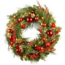 buy pre lit decorated wreaths from bed bath beyond