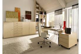 extraordinary home office design with cream wooden book storage