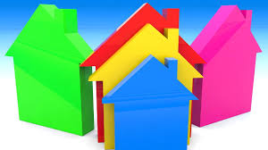 learn colors and shapes with color houses for kids toddlers