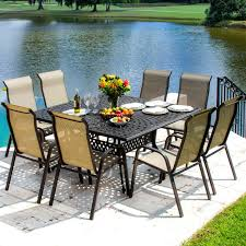madison bay 9 piece sling patio dining set with stacking chairs and