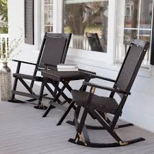 All Weather Rocking Chair Black Wooden Porch Rockers