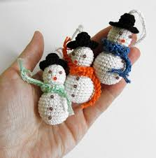 crochet snowman with hat christmas ornaments 3pc j90002