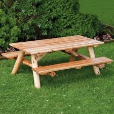 Cedar Patio Table Amish Log Patio Furniture Solid Wood Construction In Log Style