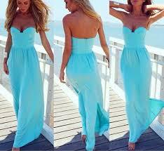 Light Blue Chiffon Dress Light Blue Plain Bandeau Pleated Chiffon Maxi Dress Maxi Dresses