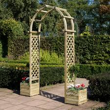 rowlinson softwood round top arch with planters departments