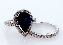 sapphire rings images 18kt white gold custom diamond ring band pear cut sapphire ring jpg