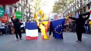 Flag Burning Protest Catalan Independence Referendum Hijacked As Protestors Burn Eu And