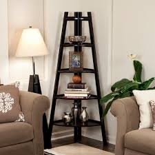 Corner Bookcase Danya B 63 In White Finish 5 Tier Corner Ladder Display Bookshelf