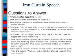 Winston Churchill Iron Curtain Speech Meaning Essential Question What Led To The Cold War Between The United