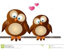cute animated owls in love
